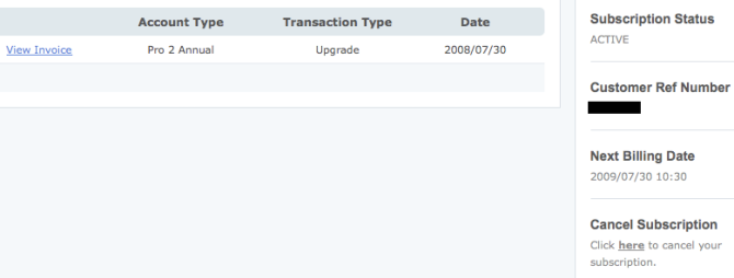 Billing screenshot