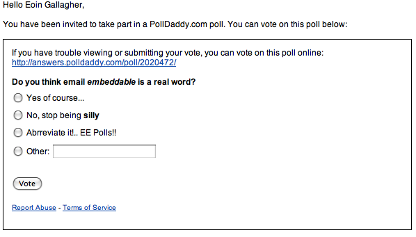 Update: Embed a poll or survey into an email | Polldaddy Blog
