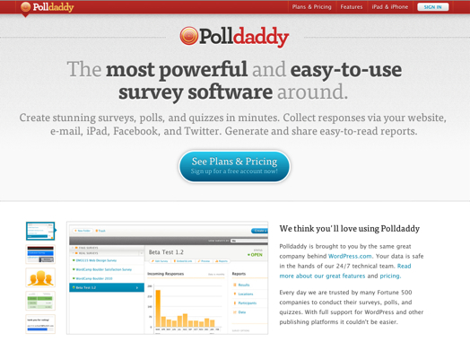 Screenshot-new Polldaddy.com redesign