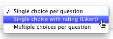 The Likert dropdown menu in Polldaddy