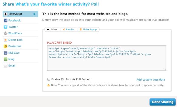 b5da39c208 Embedding polls on your website with JavaScript   Polldaddy Blog